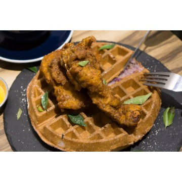 Salted Egg Chicken Waffle